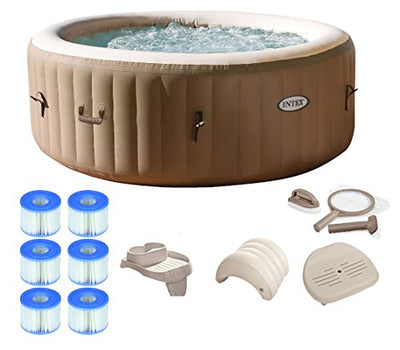 Intex Pure Spa 4-Person Inflatable Portable Hot Tub Ultimate Bundle Package