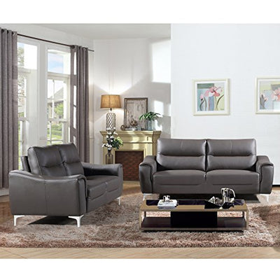 AC Pacific Anna Collection Contemporary Leather Upholstered Electric Recliner Chair With Adjustable Headrest, Tufting and Low Arms, Black