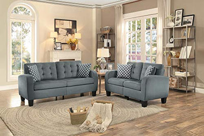 Sigmond Casual Button Tufted Love Seat in Grey Fabric