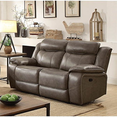 Furniture of America Bonjo Transitional Reclining Loveseat in Gray
