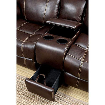 Reclining Sofa w Storage Loveseat Console Cup Holder Recliner 2pc Sofa Set Modern Brown Leatherette Comfort Couch