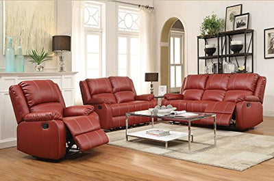 Acme Furniture ACME Zuriel Red Faux Leather Reclining Loveseat