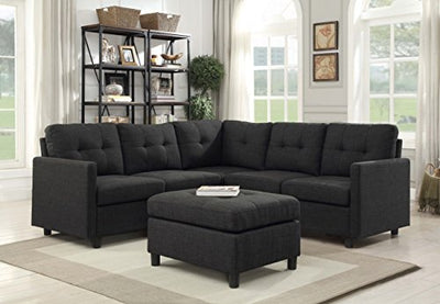 6PCS Modern Modular Sectional Sofas with Ottoman