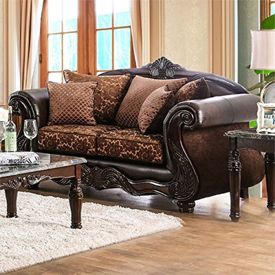 Furniture of America Eduard Faux Leather Loveseat in Brown