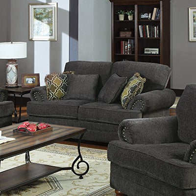 Coaster Colton Traditional Smokey Grey Love Seat with Rolled Arms