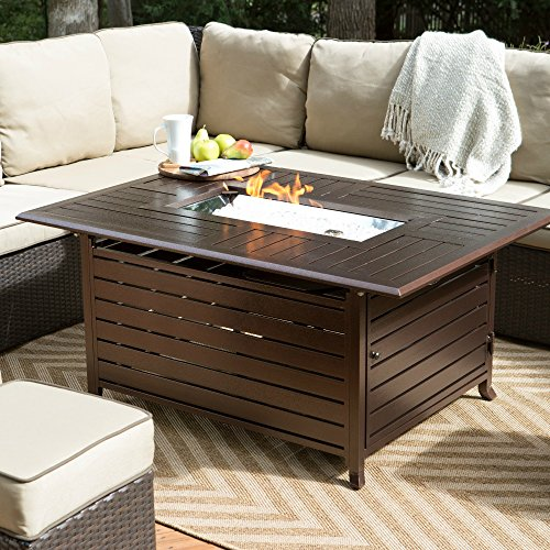 Outdoor Patio Propane Gas Fire Pit Table Rectangle with Fire Glass 50 X 38 In. Bronze