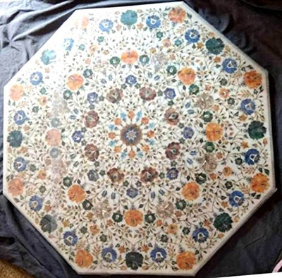 APDITS White Marble Flower Design Printed Inlay Work Coffee Table/Centre Table (36 inches)