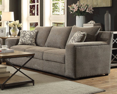 Acme Furniture ACME Ushury Gray Chenille Sofa with 2 Pillows