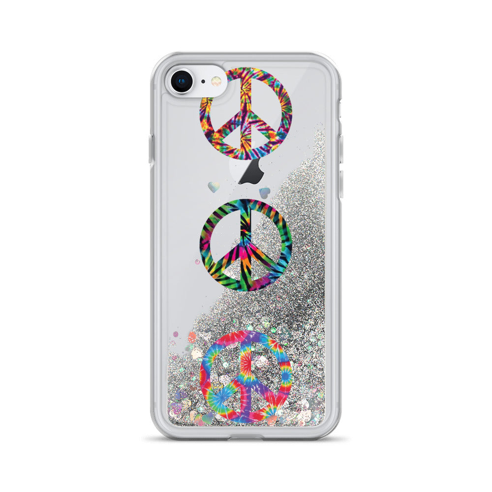 Peace Liquid Glitter Phone Case