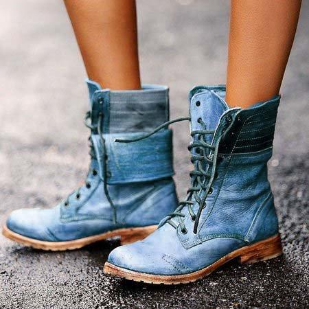 Women Winter Boots Lace Up Flat Heel Daily Ankle Boots All Season