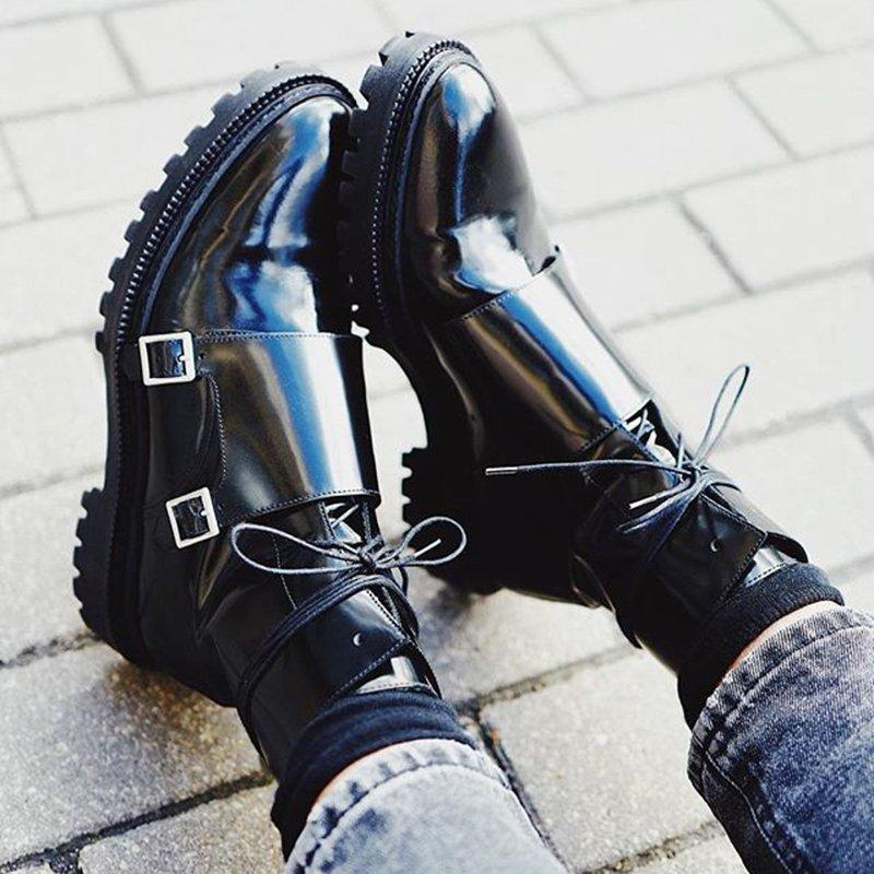 LovelyMs Zipper Daily Adjustable Buckle Spring/Fall Chunky Heel Boot