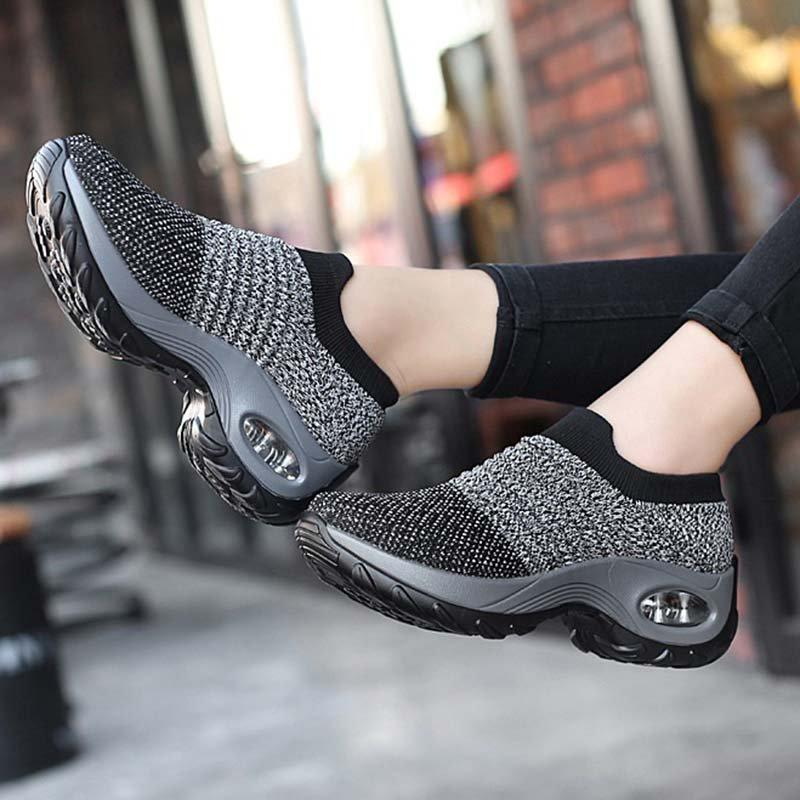 Women Casual Sneakers Low Heel Round Toe Athletic Shoes