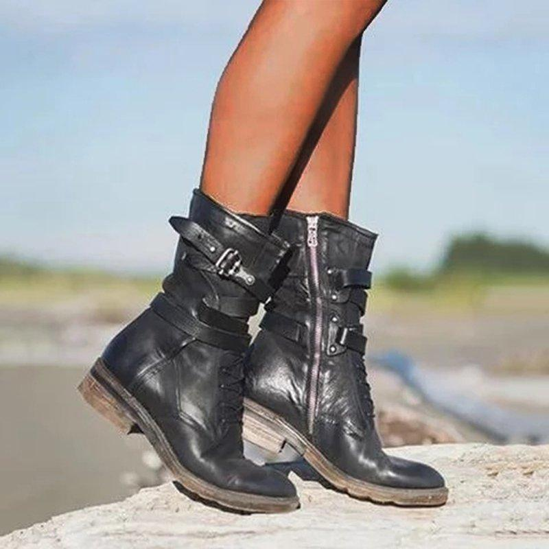 LovelyMs Women Martin Ankle Rivet Boots Retro Flat Heel Boots with Zipper