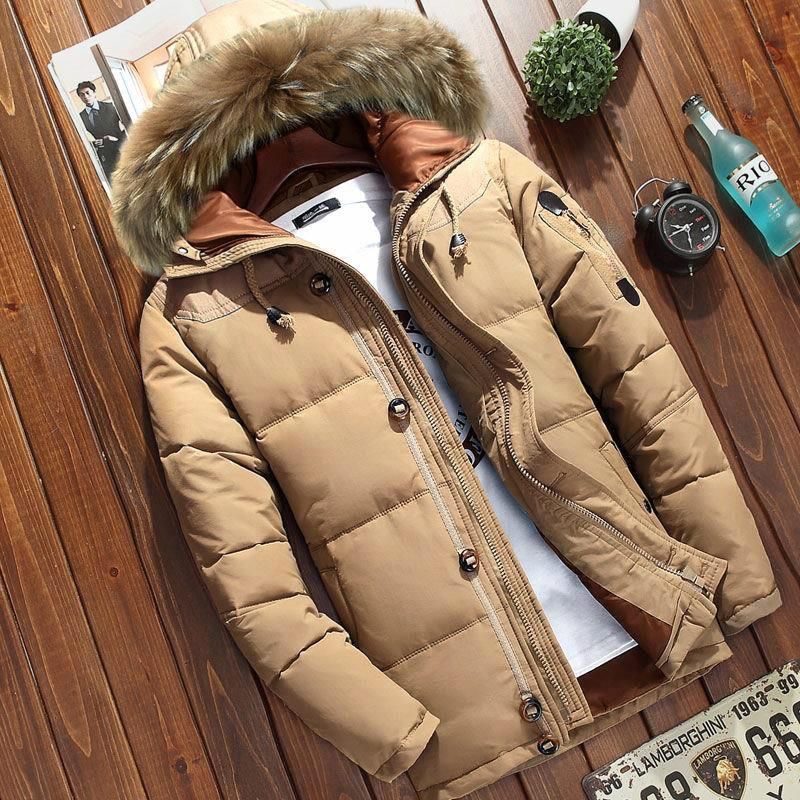 Men White Duck Down Parkas Winter Hooded Warm Jacket