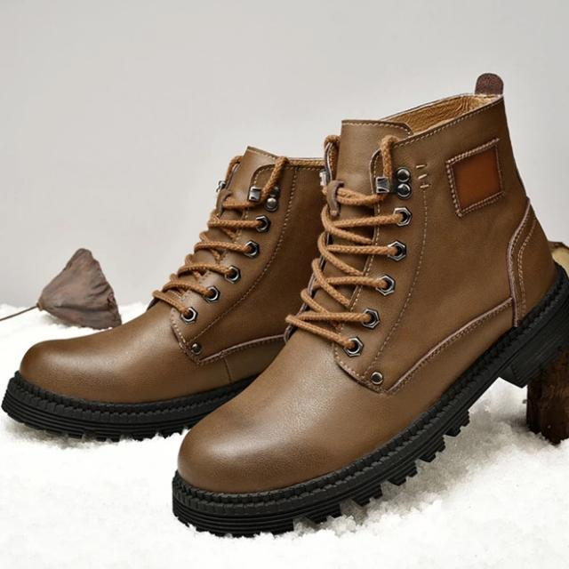 LovelyMs Genuine Leather Warm Plush Fashion Male Ankle Boots