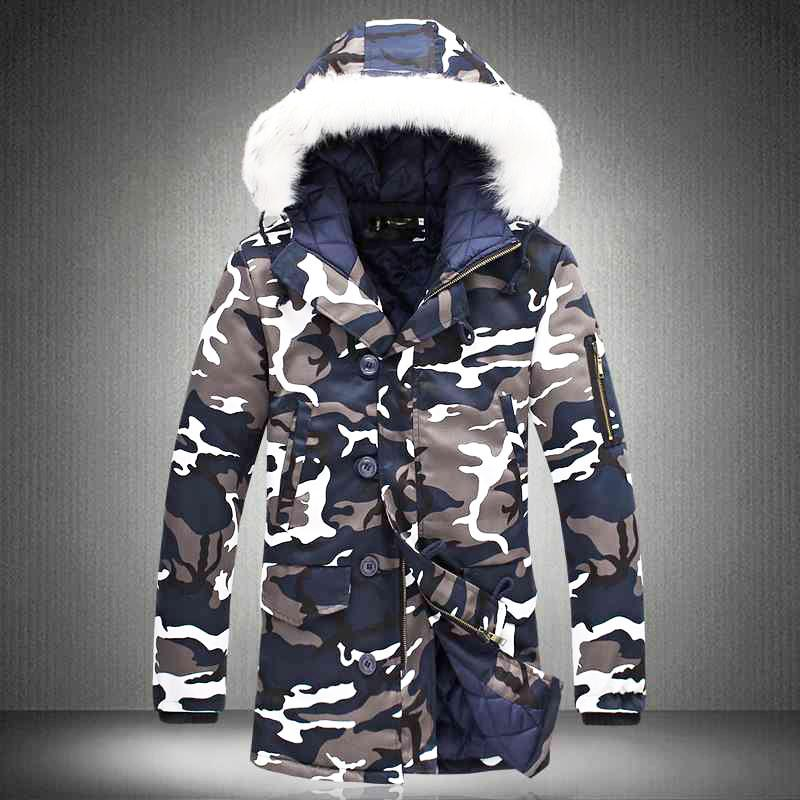 Men Camouflage Army Thick Warm Winter Hooded Coat