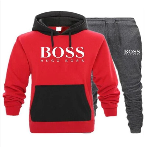 Spring Fashion Two-piece Boss Sports Hoodie Pants Set