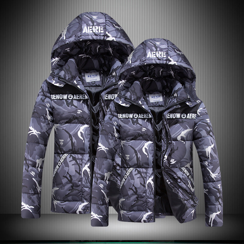 Casual Men's Winter Large Size Thick Parker Camouflage Coat