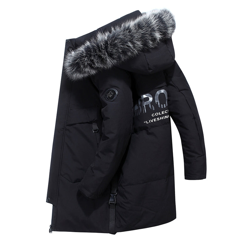 -40 Celsius Deep Winter Men Real Fur Collar 80% White Duck Down Thicken Coat