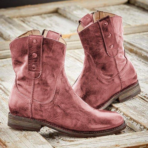 LovelyMs Women Casual Vintage Boots With Side Zipper