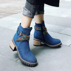 Women Chunky Heel Cloth Buckle Knight Boots