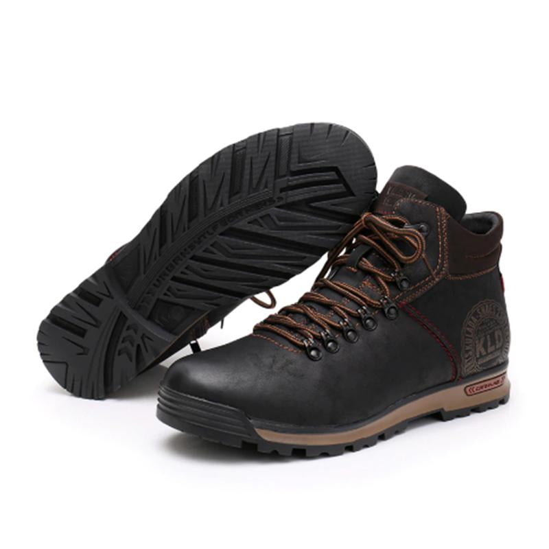 LovelyMs Fashion Snow Warm Lace Up Breathable Men Leather Boots