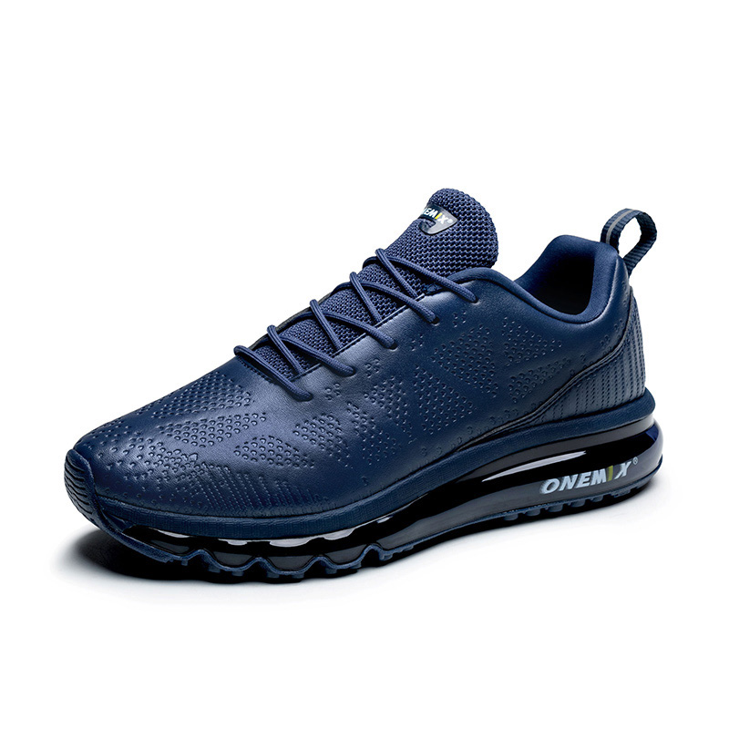 Navy Microfiber Leather Max Gym Trainers Shoes