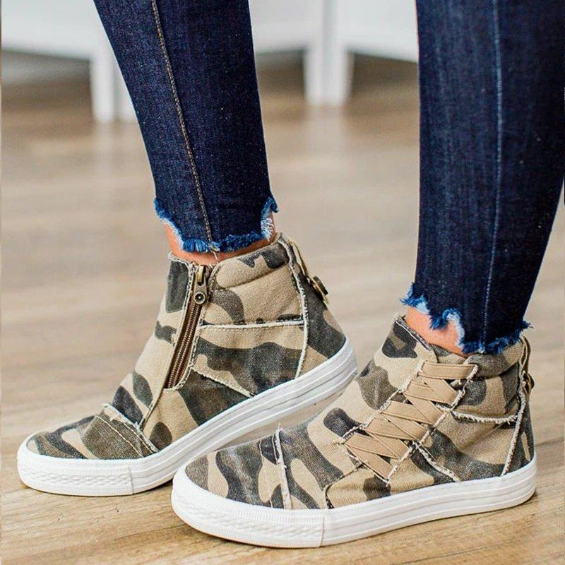 LovelyMs Women Casual Daily High Top Stylish Flat Heel Slip On Sneakers