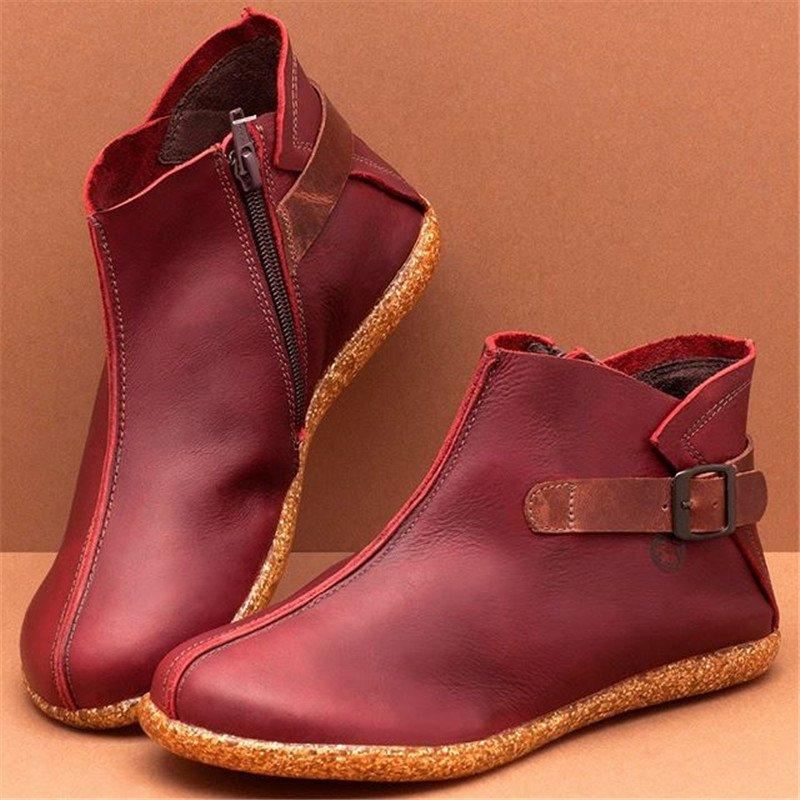 LovelyMs Women Casual Comfy Round Toe Flat Heel Zipper Ankle Boots