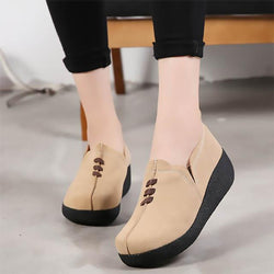 LovelyMs Flats Casual Genuine Leather Slip On Woman Ladies Female Shoes