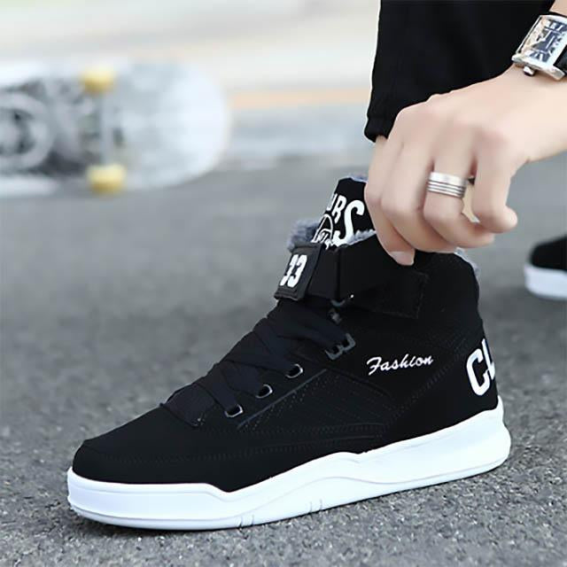 Warm Men Fashion Comfortable High Top Outdoor Fur Flat Shoes