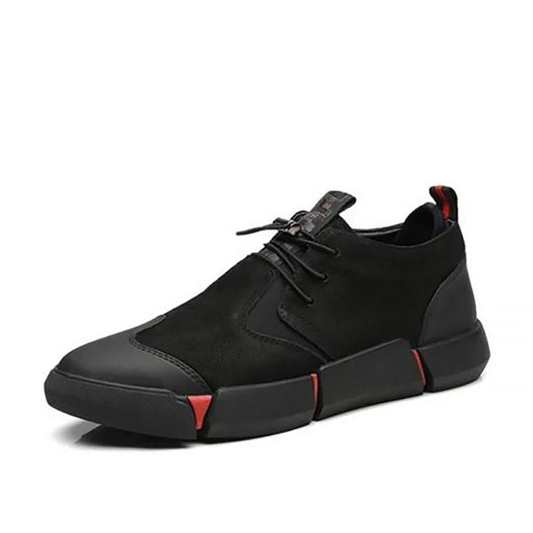 LovelyMs all Black Men's leather Breathable Sneakers