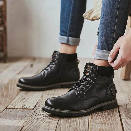 Men Basic Fashion Design Leather Lace-Up Comfy Classic Casual Ankle Boots