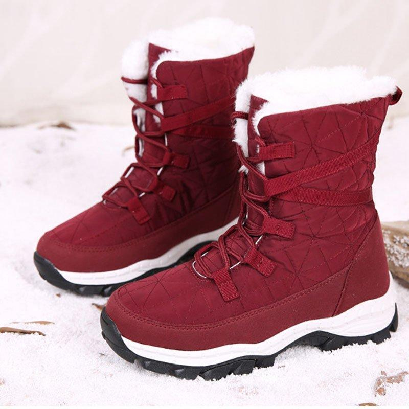 Women Winter Lace Up Flat Heel Artificial Suede Ankle Snow Boots