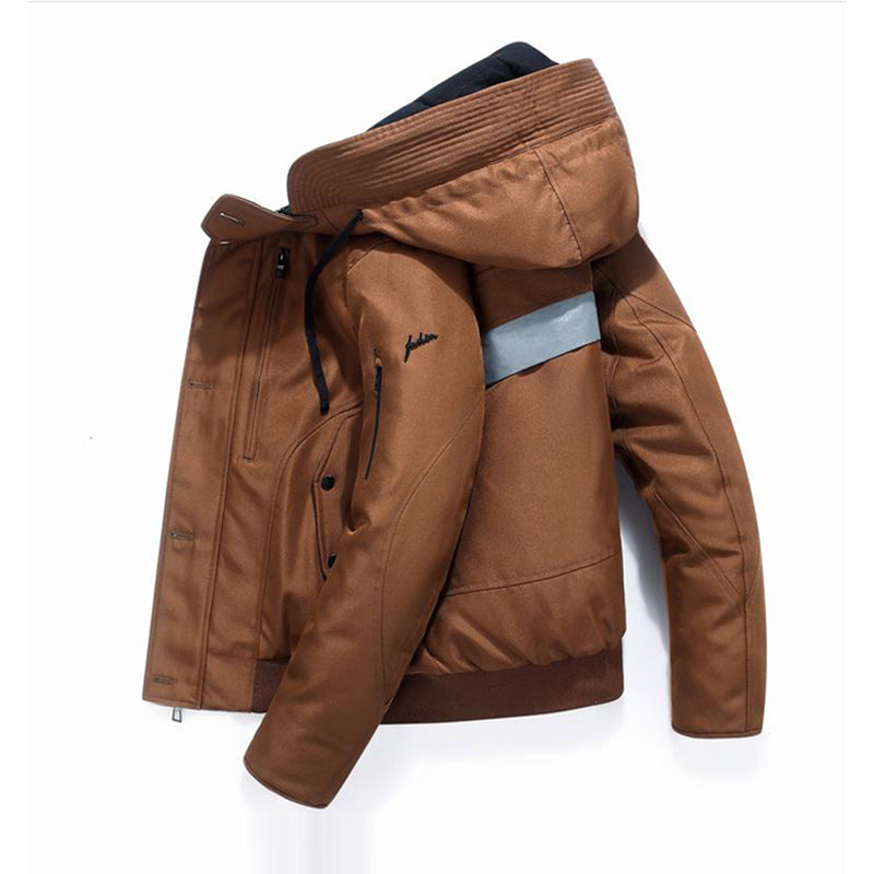 Men's Fashion Casual Hooded Splice Thicken Warm Duck Down Jacket