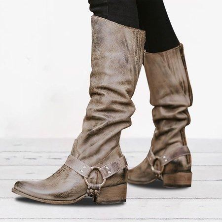Low Heel Blocking Hook-Loop Pu Knee-high Zipper Boots