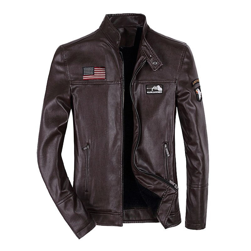 New Men's Leather Jacket Coat