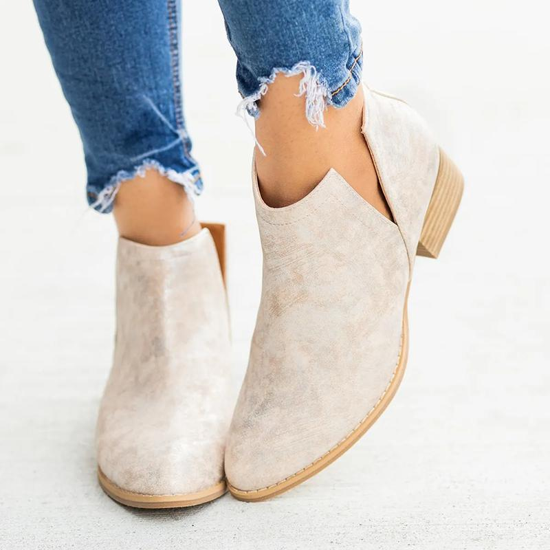 Women Closed Toe Low Heel Boots