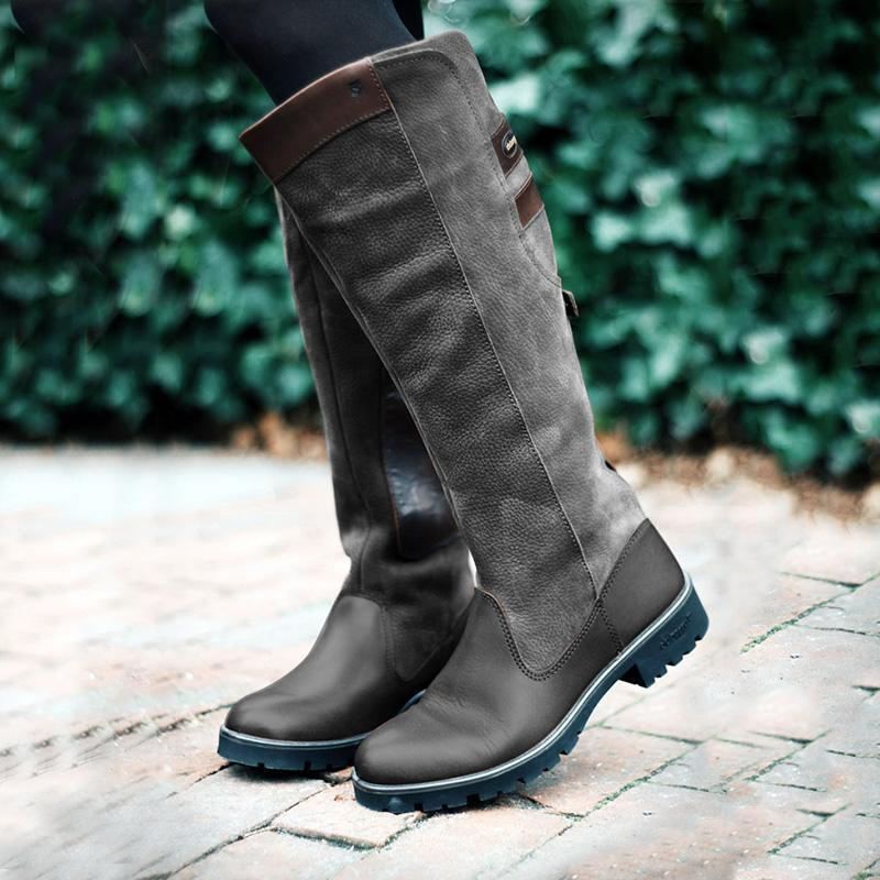 LovelyMs Women Non-slip Outdoor Boots Waterproof Low Heel Paneled Boots