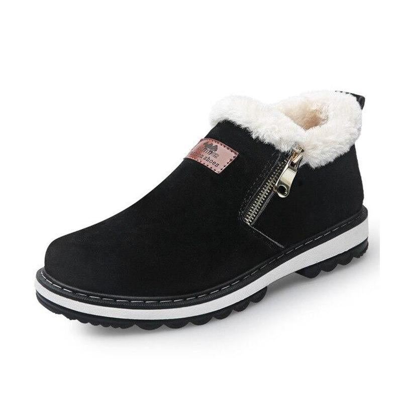 LovelyMs Plush Warm Black Brown Rubber Anti skidding Winter Boots
