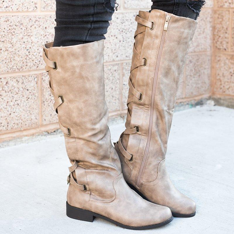 LovelyMs Black PU Chunky Heel Zipper Casual Winter Boots