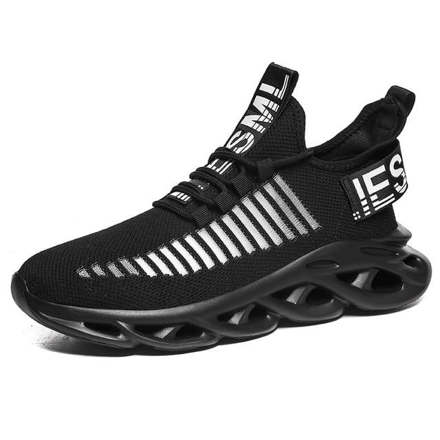 Men's Lace-Up Mesh Breathable Sneakers Cushioning Running Shoes