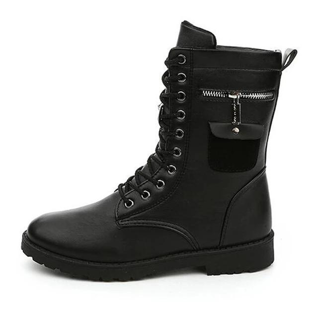 Men Pu Leather Flat Mid Calf Lace Up Martin Combat Boots MBS3000