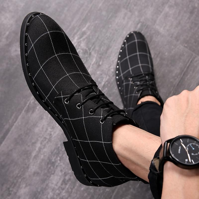 LovelyMs Fashion Plaid Casual High Quality Male Footwear