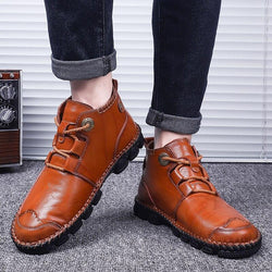 New Vintage Classic Genuine Leather Men Casual Shoes