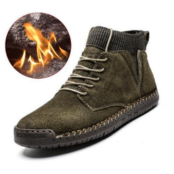 LovelyMs Plush Warm Men Motorcycle Boots Lace-Up Non-slip Male Ankle Boots