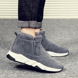LovelyMs Winter Cow Suede Men Snow Fashion Sneakers Man Leather Snow Boots Shoes