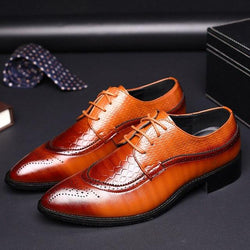LovelyMs Business Shoes Crocodile Embossed Leather Dress Shoes