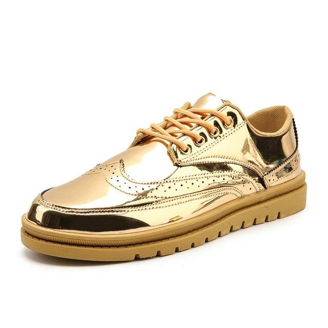 LovelyMs Brogue Shoes Gold Glitter Shinny Bling Fashion Casual Shoes
