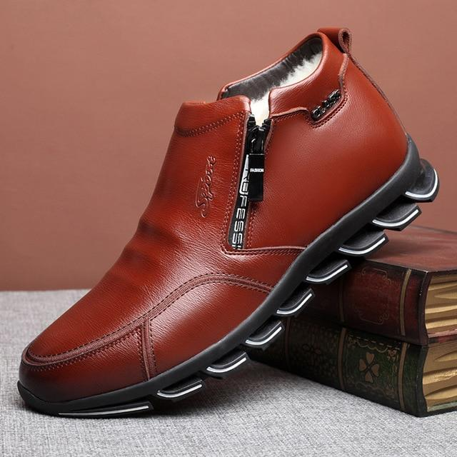 Genuine Leather winter boots Wool Men's Fur Leisure Shoes